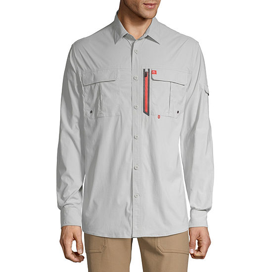 American Outdoorsman Stretch Fishing Mens Long Sleeve Moisture Wicking Button-Front Shirt