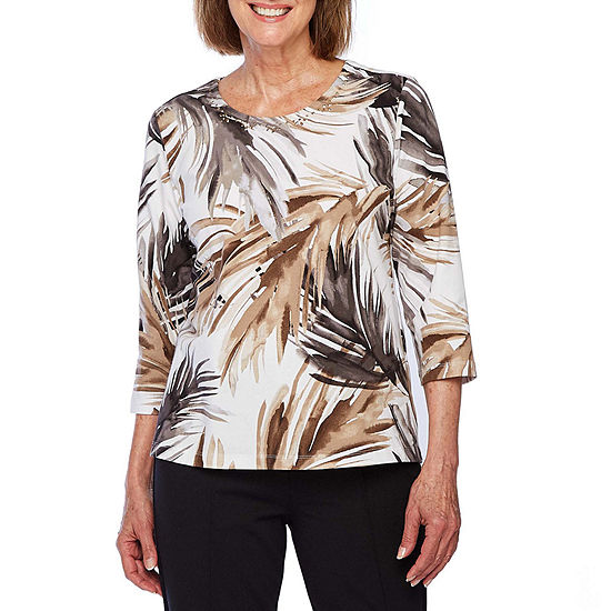 Alfred Dunner Classic Tee'S-Womens Crew Neck 3/4 Sleeve T-Shirt Petite