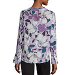 Worthington Womens Cowl Neck Long Sleeve Blouse