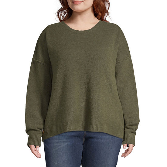 Supplies By Unionbay Long Sleeve Button Side Sweater-Plus