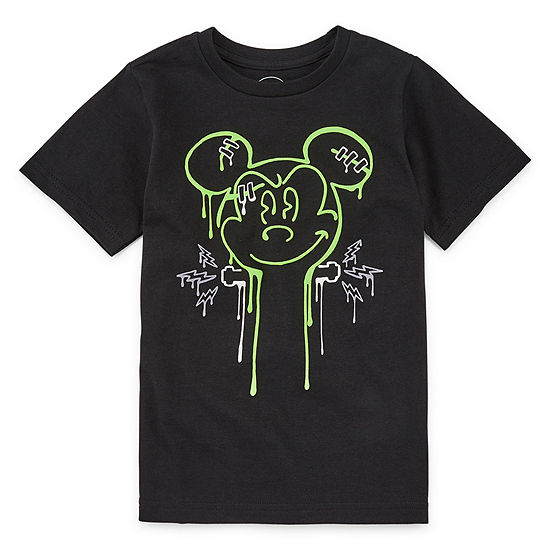Disney Collection Halloween Boys Crew Neck Short Sleeve Mickey Mouse T-Shirt Preschool / Big Kid