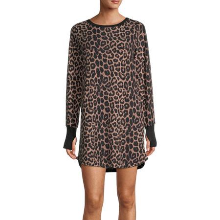 Rene Rofe Womens Nightshirt Long Sleeve Round Neck, Small , Brown