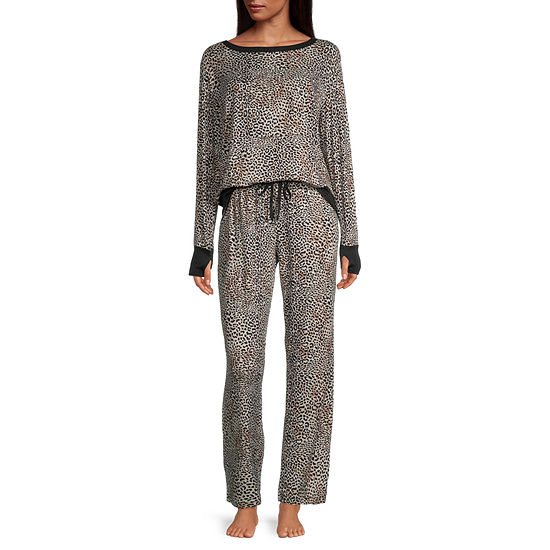 Pillow Talk By Rene Rofe Womens Pant Pajama Set 2-pc. Long Sleeve