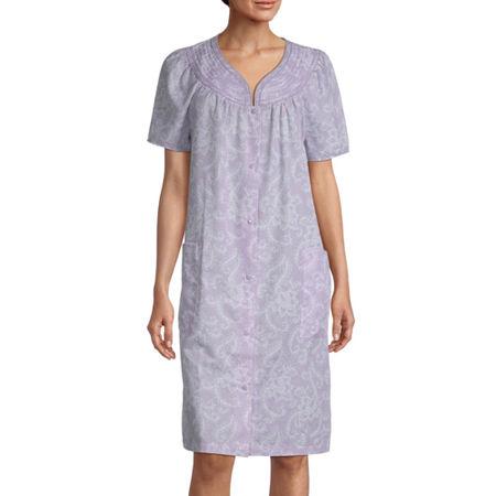 Lissome Plisse With Trapunto Short Sleeve Knee Length Womens Robe, Medium , Purple