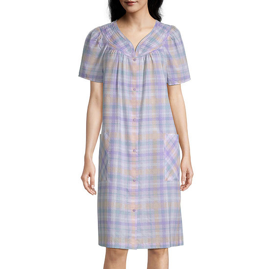 Lissome Plisse With Trapunto Short Sleeve Knee Length Womens Robe