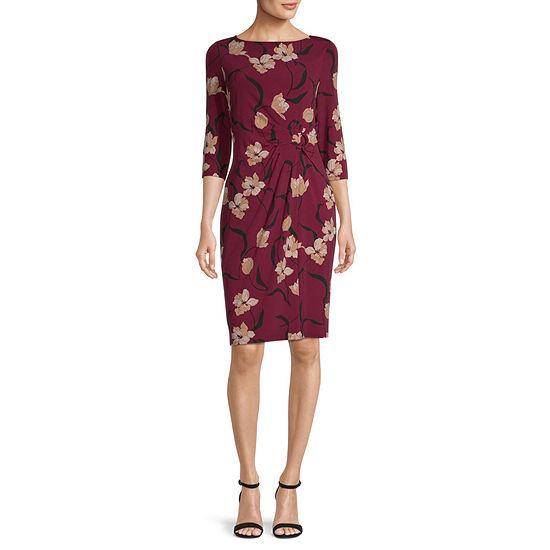 Liz Claiborne 3/4 Sleeve Floral Shift Dress