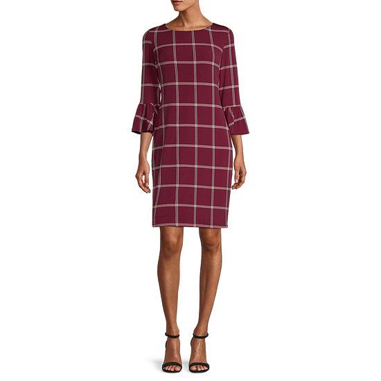 Liz Claiborne 3/4 Sleeve Plaid Sheath Dress