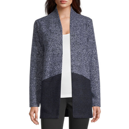 Liz Claiborne Womens Long Sleeve Open Front Cardigan, X-small , Blue