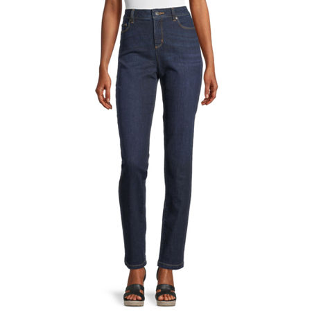 Liz Claiborne Womens Girlfriend Straight Leg Jean, 16 , Blue