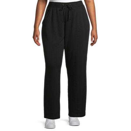 St. John's Bay Womens Mid Rise Straight Drawstring Pants - Plus, 2x , Black