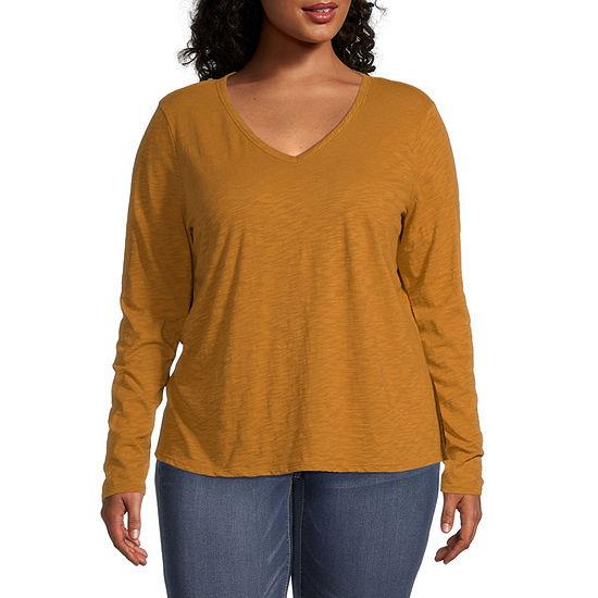 a.n.a Plus-Womens V Neck Long Sleeve T-Shirt