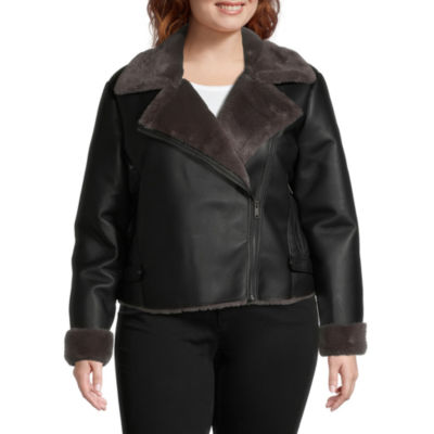 a.n.a Faux Leather Lightweight Motorcycle Jacket-Plus