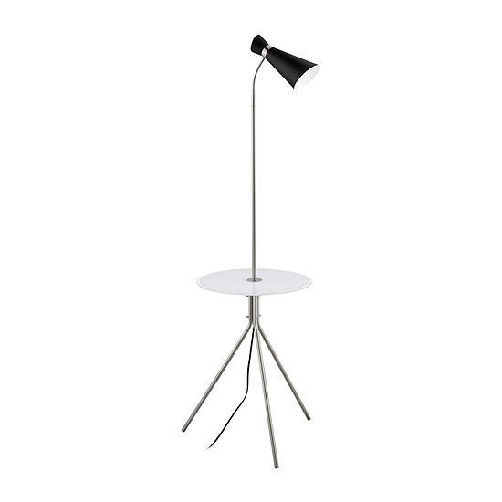 Eglo Policara Black Steel Glass Floor Lamp