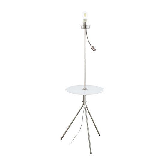 Eglo Policara White Steel Glass Floor Lamp