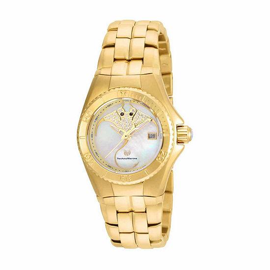 Techno Marine Womens Gold Tone Stainless Steel Bracelet Watch-Tm-115189