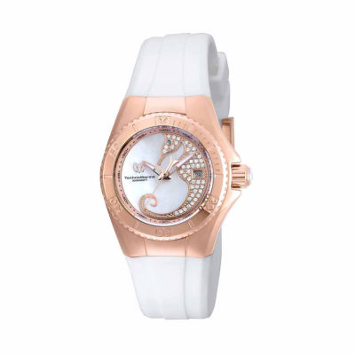 Techno Marine Womens White Strap Watch-Tm-115208