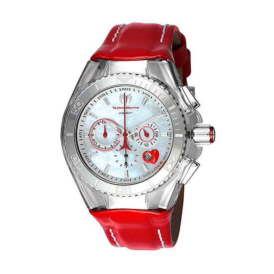 Techno Marine Mens Red Leather Strap Watch-Tm-115312
