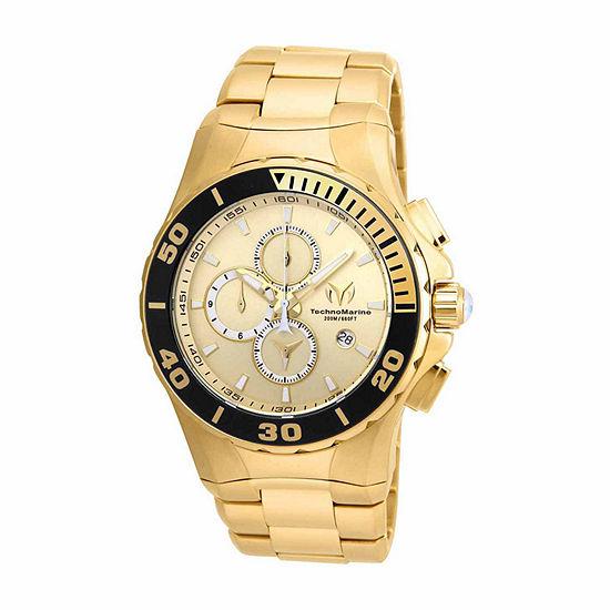 Techno Marine Mens Gold Tone Stainless Steel Bracelet Watch-Tm-215044