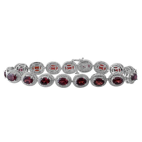 Genuine Garnet Diamond Accent Sterling Silver Bracelet
