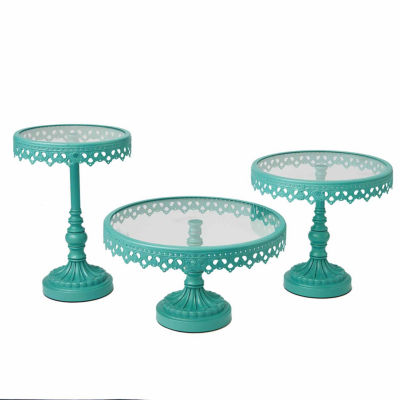 Turquoise Round Pedestal Stand- Set of 3
