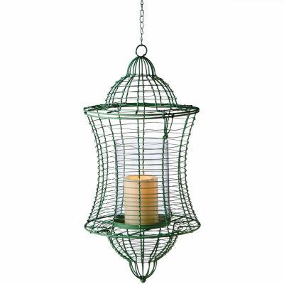 Large Green Pillar Wire Lantern