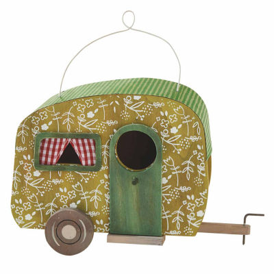 Decorative Green Floral Camper Birdhouse