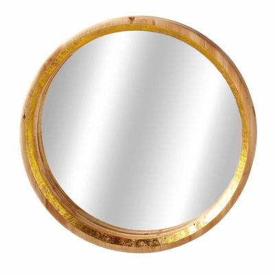 Small Round Mirror Tray with Gold Accent