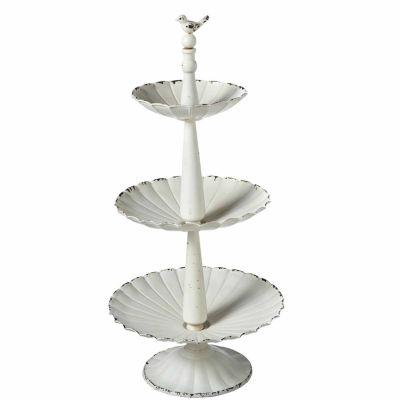 White Three Tier Pedestal Stand with Bird