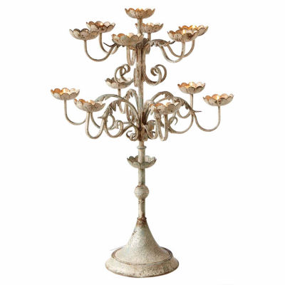Distressed Ivory & Blue Multi Level Tealight Floral Cup Candelabra