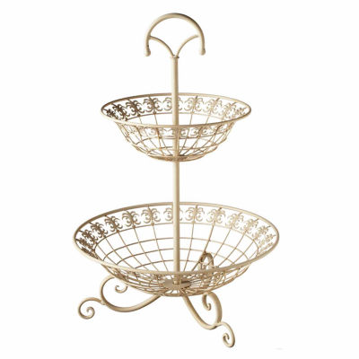 Ivory Fleur Two-Tier Basket Stand