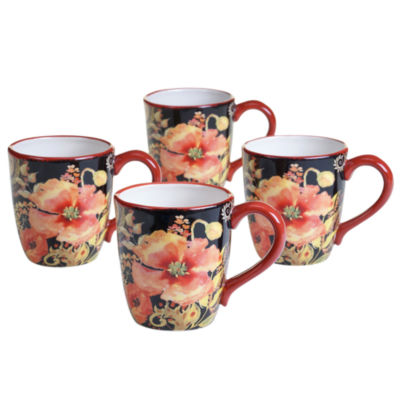 Certified International Watercolor Poppies 4-pc. Coffee Mug