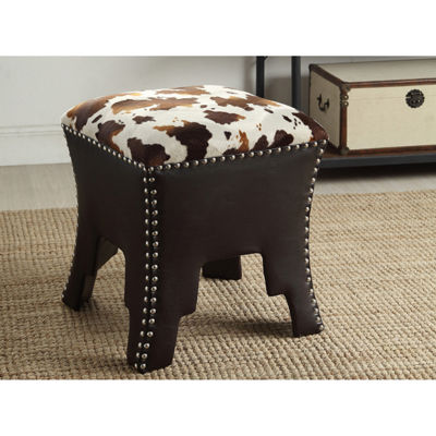 Baxton Studio Sally Animal Print Faux-Leather Upholstered Accent Stool with Nail Heads