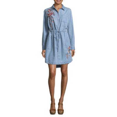a.n.a  3/4 Sleeve Embroidered Shirt Dress