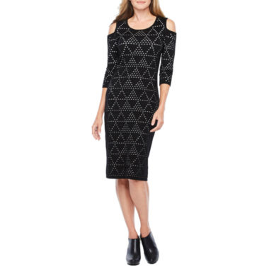 Danny & Nicole 3/4 Sleeve Cold Shoulder Sweater Dress