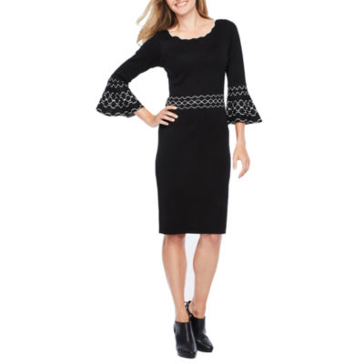 Danny & Nicole 3/4 Bell Sleeve Sweater Dress