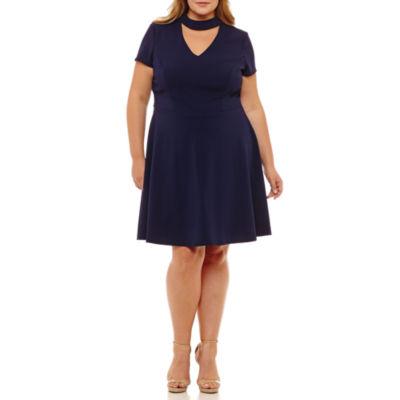 Bisou Bisou Short Sleeve Fit & Flare Dress - Plus