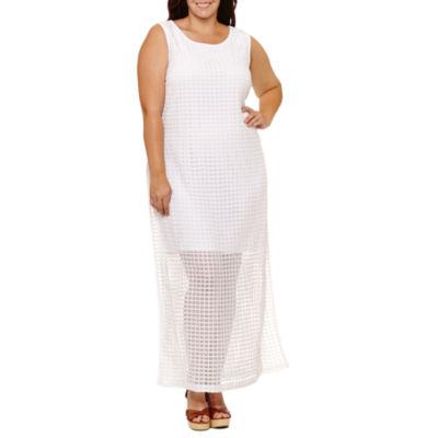 Soho Sleeveless Grid Maxi Dress-Plus