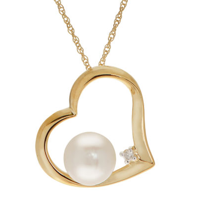Womens Diamond Accent Genuine White Cultured Freshwater Pearls 10K Gold Heart Pendant Necklace