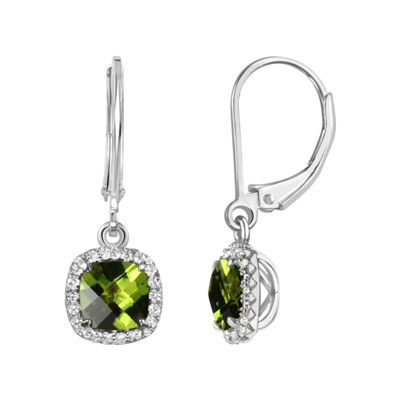 Genuine Green Peridot Sterling Silver Drop Earrings