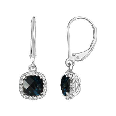 Genuine Blue Blue Topaz Sterling Silver Drop Earrings