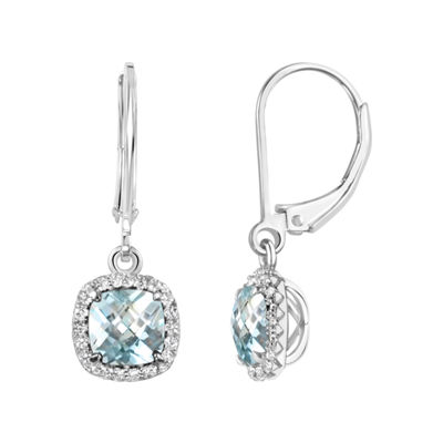 Genuine Blue Aquamarine Sterling Silver Drop Earrings