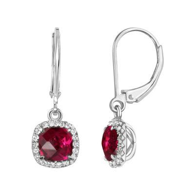 Red Ruby Sterling Silver Drop Earrings