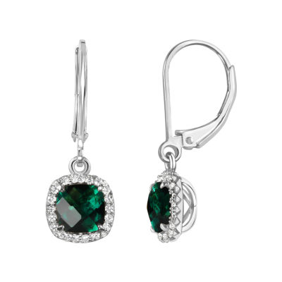 Lab Created Green Emerald Sterling Silver Drop Earrings
