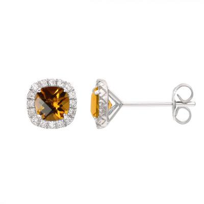 Genuine Orange Citrine Sterling Silver 1/4 Inch Stud Earrings