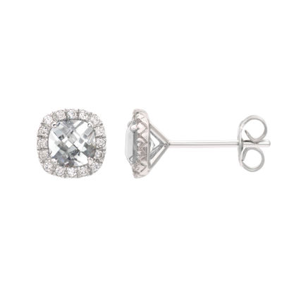 Lab Created White Sapphire Sterling Silver 1/4 Inch Stud Earrings