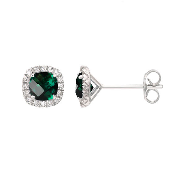 Lab Created Green Emerald Sterling Silver 1/4 Inch Stud Earrings