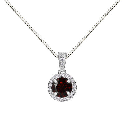 Womens Brown Garnet Sterling Silver Pendant Necklace
