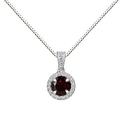 Womens Genuine Brown Garnet Sterling Silver Round Pendant Necklace