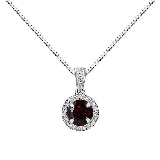 Womens Genuine Brown Garnet Sterling Silver Round Pendant Necklace