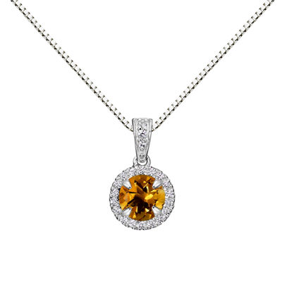 Womens Genuine Yellow Citrine Sterling Silver Round Pendant Necklace